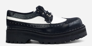 Underground England Original Tracker brogue steel toe cap black and white leather with shoe for men and women
