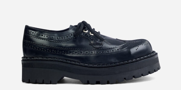 Underground England Original Tracker brogue steel toe cap black leather with shoe for men and women