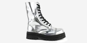 Underground Original Steel Cap Commando mirror silver leather combat boot for men and women