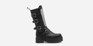 Underground Original Warrior black leather steel toe cap boot with 4 buckle in with metal plate for men and women