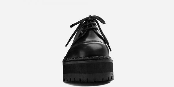 BLACK LEATHER STEEL CAP TRACKER SHOE WITH TRIPLE SOLE