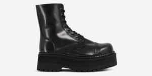 STORMER – 8 EYELET STEEL CAP BOOT – BLACK LEATHER – TRIPLE SOLE