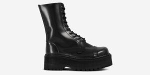 COMMANDO – 10 EYELET STEEL CAP BOOT – BLACK LEATHER – TRIPLE SOLE