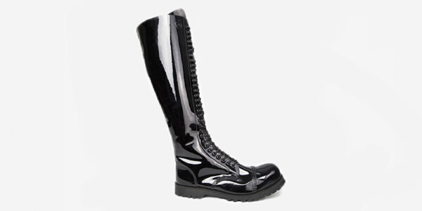 UNDERGROUND ENGLAND PARA 30 EYELET STEEL CAP BOOT - BLACK PATENT LEATHER - SINGLE SOLE CUSTOM MADE WITH LONGER TONGUE FOR MEN AND WOMEN