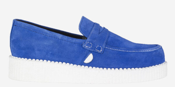Underground Original Wulfrun Creeper loafer royal blue suede with white sole shoe for men and women