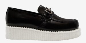 CREEPER LOAFER – BLACK LEATHER & BUCKLE – WHITE SINGLE SOLE – CUSTOM MADE