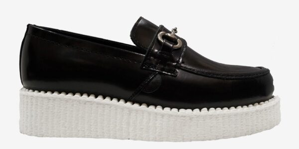 Underground Original Wulfrun Creeper loafer black leather with white sole shoe and buckle for men and women