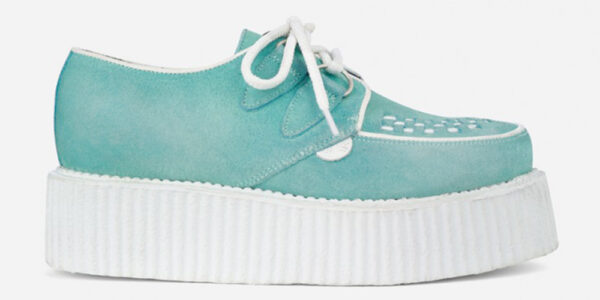 Underground Original Wulfrun Creeper spearmint suede shoe with white sole for men and women