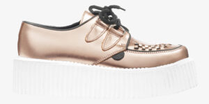 ORIGINAL WULFRUN CREEPER – ROSE GOLD MIRROR LEATHER – WHITE DOUBLE SOLE – CUSTOM MADE