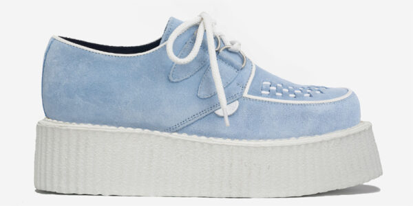 Underground Original Wulfrun Creeper sky blue suede shoe with white sole for men and women