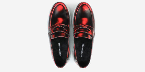 Underground Original Wulfrun Creeper loafer rub off leather fuchsia with white sole shoe for men and women