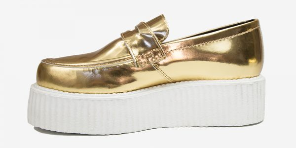 Underground Original Wulfrun Creeper loafer gold mirror leather with white sole shoe for men and women