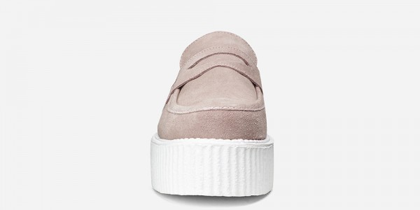 Underground Original Wulfrun Creeper loafer pale pink suede with white sole shoe for men and women