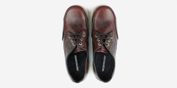 Underground England Mud guard burgundy tumbled leather steel toe cap shoe with white sole for men and women