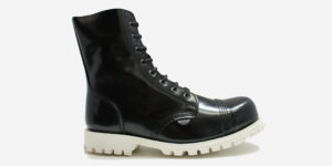 STORMER 8 EYELET STEEL CAP BOOT – BLACK LEATHER – WHITE SINGLE SOLE – CUSTOM MADE