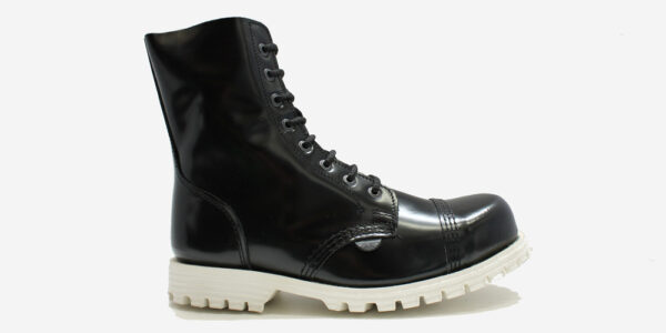Underground Original Steel Cap Stormer Black leather combat boot with white sole for men and women