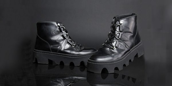 UNDERGROUND EVOLUTION – JUNGLE BOOT – BLACK LEATHER SHOES FOR MEN AND WOMEN