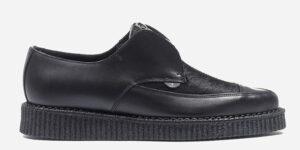 Underground England Original Apollo creeper black grain leather with pony hair shoe for men and women