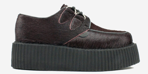 Underground Original Wulfrun Creeper burgundy pony hair shoe for men and women