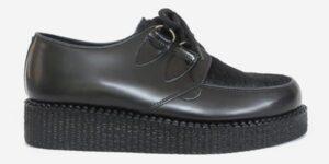 Underground Original Wulfrun Creeper black grain leather and black suede shoe for men and women