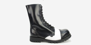 COMMANDO 10 EYELET STEEL CAP BOOT – BLACK & WHITE LEATHER – SINGLE SOLE – CUSTOM MADE
