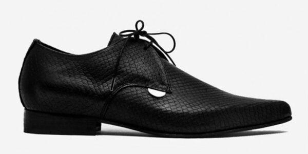 Underground England Paul Winklepicker black leather snake embossed shoe for men and women