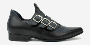 Underground England Winklepicker black leather side buckle and zip shoe for men and women