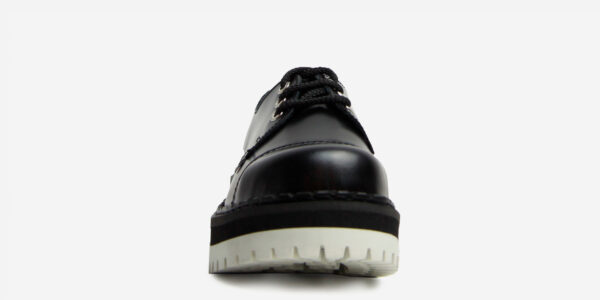 Underground Original Steel Cap tracker Black leather shoe with white sole for men and women