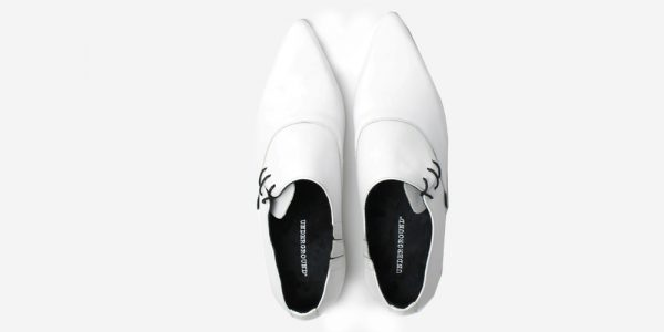 Underground England Henry Winklepicker white grain leather side lace up shoe for men and women
