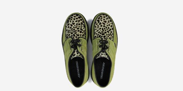 Underground Original Wulfrun Creeper apple green suede and leopard print shoe for men and women