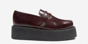 Original Underground creeper loafer burgundy hi-shine leather shoe for Men and Women
