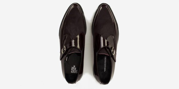 Underground Original Apollo Creeper burgundy patent leather and pony hair buckle shoe for men and women