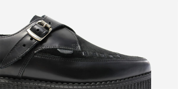 Underground Original Apollo Creeper black leather and suede buckle shoe for men and women