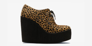 ORIGINAL WULFRUN CREEPER – NATURAL LEOPARD PRINT PONY HAIR – WEDGE SOLE – CUSTOM MADE