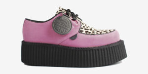 Underground Original Wulfrun Creeper pink suede leather with leopard print pony hair shoe for men and women