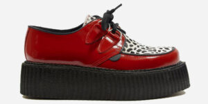 Underground Original Wulfrun Creeper red patent leather and leopard pony hair shoe for men and women