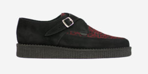 Underground Original Apollo Creeper black suede and red leopard print pony hair buckle shoe for men and women