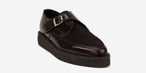 Underground Original Apollo Creeper patent burgundy leather and burgundy pony hair buckle shoe for men and women