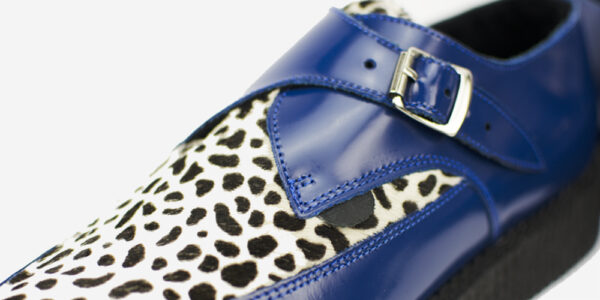 Underground Original Apollo Creeper royal blue leather and leopard print pony buckle shoe for men and women