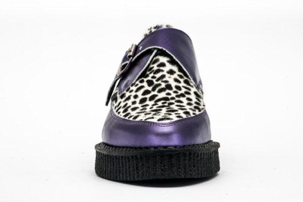 Underground Original Apollo Creeper purple metallic leather and leopard print buckle shoe for men and women