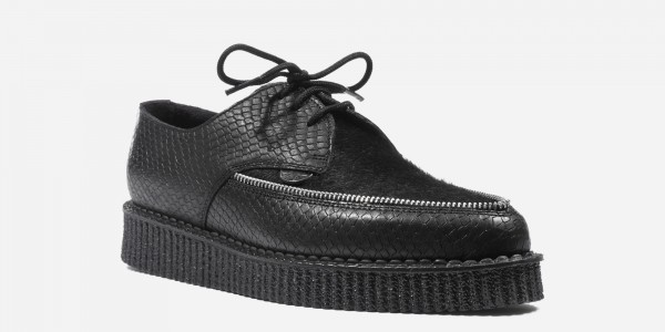 Underground Original Barfly Creeper black snake embossed leather with black pony hair shoe for men and women