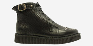 Underground Original Barfly Creeper black snake embossed boot with buckles for men and women