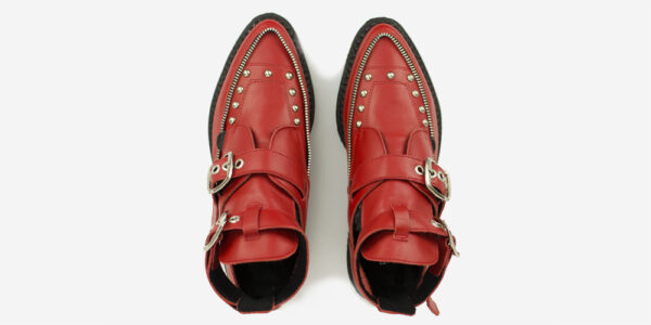 Underground Original Bowie Creeper red grain leather boot with buckles for men and women