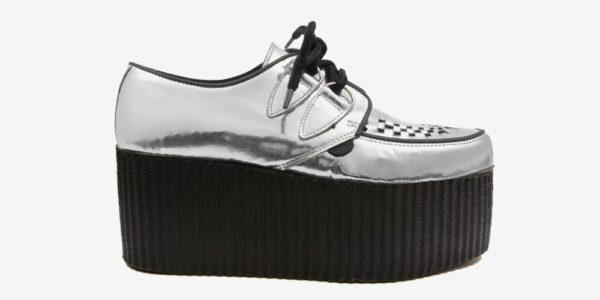 Underground Original Wulfrun Creeper silver mirror leather shoe for men and women