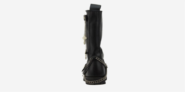 Underground England Engineers black leather steel toe cap with cross chain boot for men and women