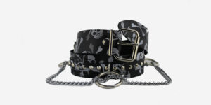 UNDERGROUND BELT – BLACK & WHITE SKULL LEATHER – 1 ROW NICKEL CONICAL STUDS & CHAINS ACCESSORIES FOR MEN AND WOMEN