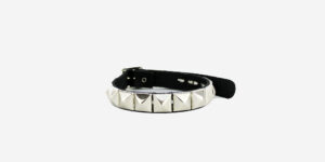 UNDERGROUND NECKBAND – BLACK LEATHER – 1 ROW NICKEL PYRAMID STUDS ACCESSORIES FOR MEN AND WOMEN