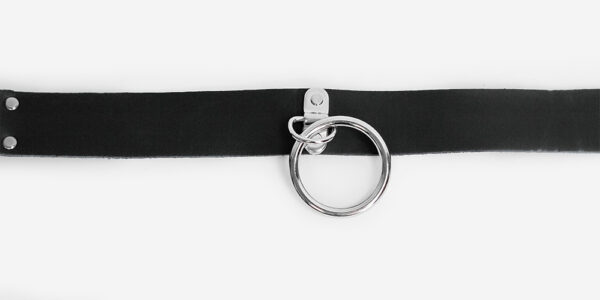 UNDERGROUND NECKBAND – BLACK LEATHER – NICKEL RING ACCESSORIES FOR MEN AND WOMEN