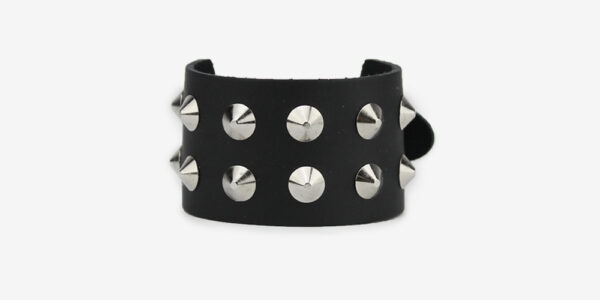 UNDERGROUND WRISTBAND – BLACK LEATHER – 2 ROW NICKEL CONICAL STUDS ACCESSORIES FOR MEN AND WOMEN