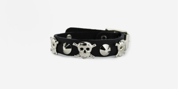 UNDERGROUND WRISTBAND – BLACK LEATHER – 1 ROW NICKEL CONICAL & SKULL STUDS ACCESSORIES FOR MEN AND WOMEN